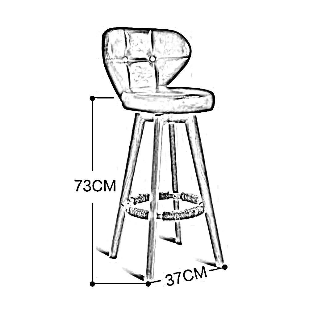 XEWNEG Retro hög pall, hem roterbar massivt trä ryggstöd stol, med bomull och linne sittdyna och pedaler, för frukostbänkstol, 4 färger (färg: Grön) grå