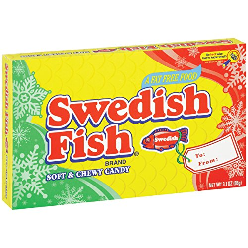 Swedish Fish Red Soft and Chewy Candy, Theater Size Box, 3.1 oz