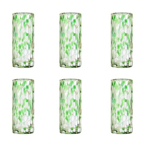 Amici Home, 7MCR815S6R, Confetti Collection Tom Collins Drinking Glass, Handmade Artisanal Mexican Drinkware, Recycled Glass, Dishwasher Safe, Set of 6, 12 Ounces