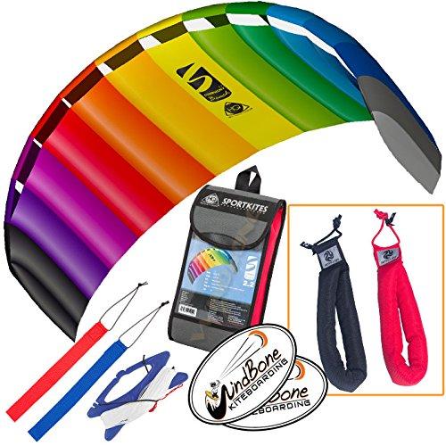 HQ Symphony Beach III 2.2 Kite Rainbow Bundle (3 Items) + Peter Lynn Heavy Duty Padded Kite Control Strap Handles Pair + WindBone Kiteboarding Lifestyle Stickers (Peter Lynn Kites)
