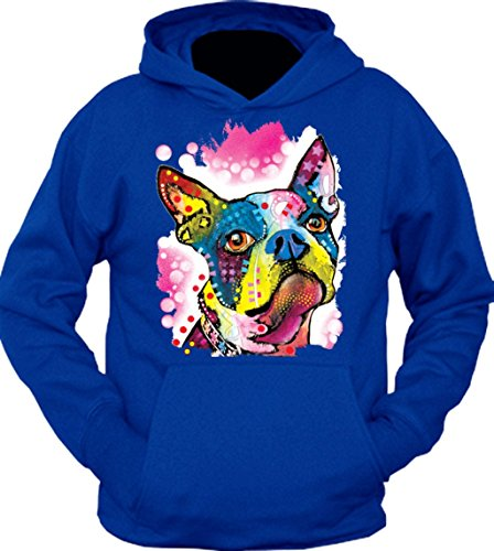 Boston Terrier Face Trippy Dog Hoodie Blue 3XL