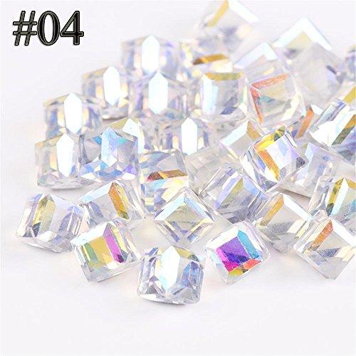 hermosotodo 10PCS Fashion Manicure Decoration Diamond Cube Square Shine Rhinestones AB Gem Stone Nail Art Glitters