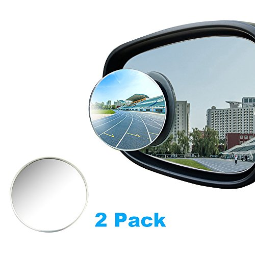 Blind Spot Mirror Frameless HD Glass Aluminum Shell Convex Rear View Stick-On Mirror For All Universal Vehicles Car Fit (50mm Twin - For Glasses Blinders Side