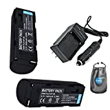 Amsahr S-NP80-2CT, Pack-2, Digital Replacement Battery Plus Travel Charger for Fuji NP-80, FinePix - Includes Lens Accessories Pouch (Gray)