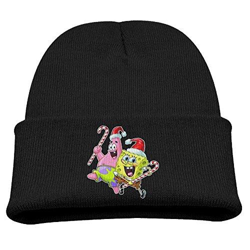 Spongebob And Patrick Christmas Boys Stretchy Black Winter Hat Beanies Cap