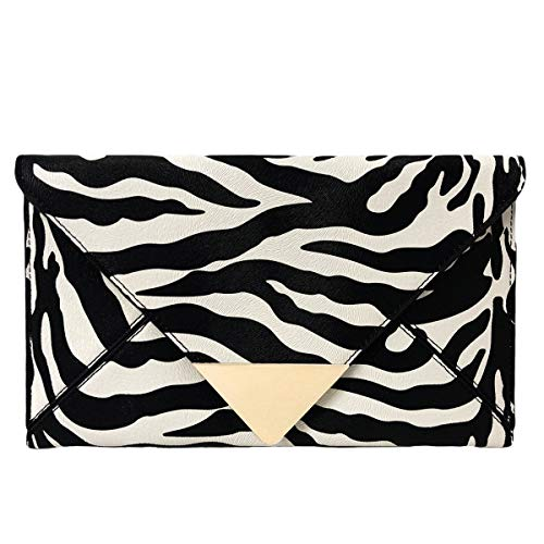 JNB Synthetic Leather Zebra Print Envelope Clutch