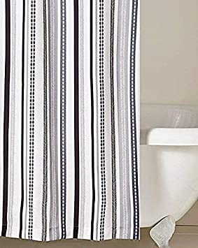 VERTICAL STRIPE GEOMETRIC BLACK GREY SHOWER CURTAIN 180CM X WITH HOOKS