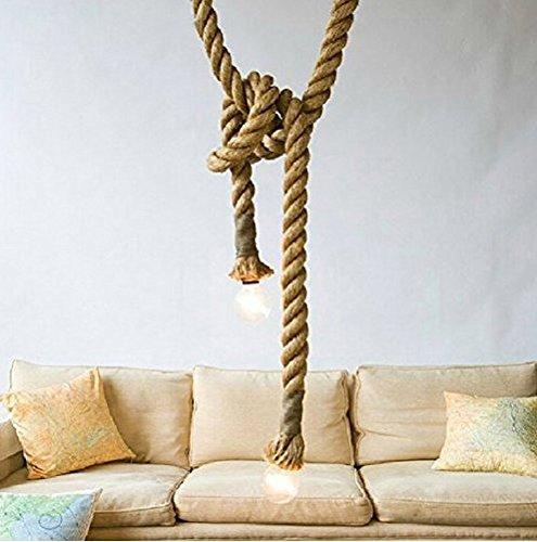 Borang 250cm 2 Head Vintage Thick Hemp Rope Industrial Ceiling Light Pendant E27 Base Lamp Cord(98inch)