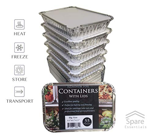 55 Pack - 2.25 LB Aluminum Pan/Containers with Lids/To Go Containers/Aluminum Pans with Lids/Take Out Containers/Aluminum Foil Food Containers From Spare - 2.25Lb Capacity 8.5'' x 6'' x 1.5'' by Spare Essentials (Image #4)