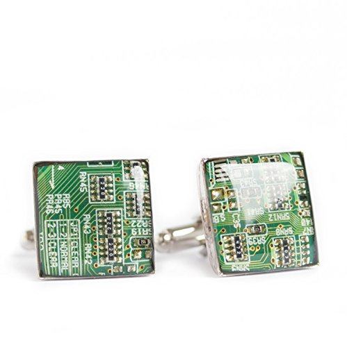 Green Circuit Board Cufflinks, recycled gift for computer geek