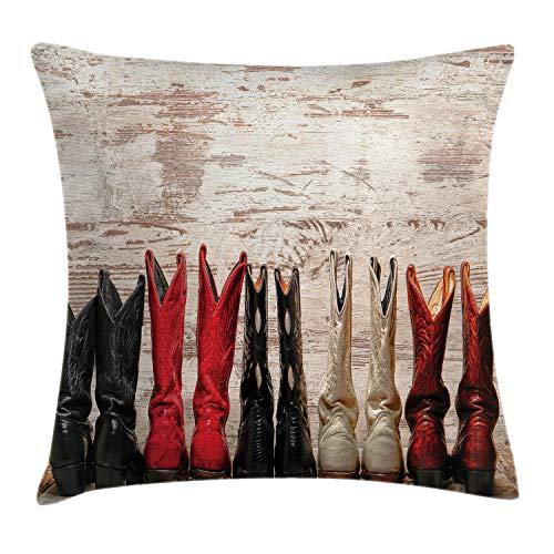Cowgirl Room Decor - Ambesonne Western Throw Pillow Cushion Cover, American Legend Cowgirl Leather Boots Rustic Wild West Theme Cultural Print, Decorative Square Accent Pillow Case, 16 X 16 Inches, Beige Red Black