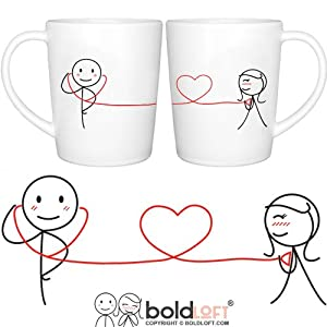 "BOLDLOFT ""My Heart Beats for You "" Couple Coffee Mugs-Romantic Valentines Gifts for Couples,Cute Valentines Day Gift Ideas,Christmas Gifts for Him for Her,Romantic Anniversary Gifts"