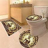 MikiDa 3 Piece Extended bath mat set thai golden buddha on oriental gold ornament texture background 3 Piece Toilet Cover set