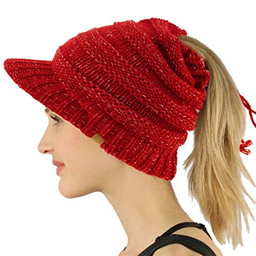 Open Top Messy Bun Ponytail Stretchy Knit Visor Beanie Skull Hat Red ()