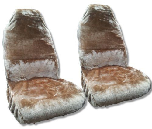 (Unique Imports Faux Sheepskin Seat Cover Pair - Soft Plush Synthetic Wool Bucket Seat Covers)