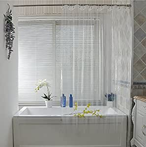 Eforcurtain Extra Long 72 By 78 Inch 18 Gauge Peva Shower Curtain Liner Clear With 3