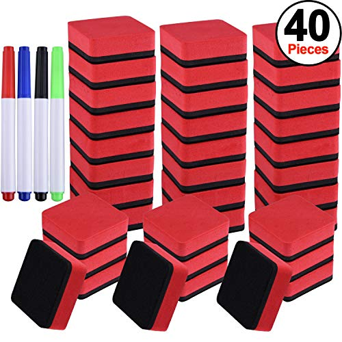 Whiteboard Markers Four - SIQUK 36 Packs Whiteboard Eraser Magnetic White Board Dry Eraser Red Chalkboard Cleansers Wiper(1.97 x 1.97 Inches) with 4 Pieces Dry Erase Whiteboard Markers for Classroom Offices