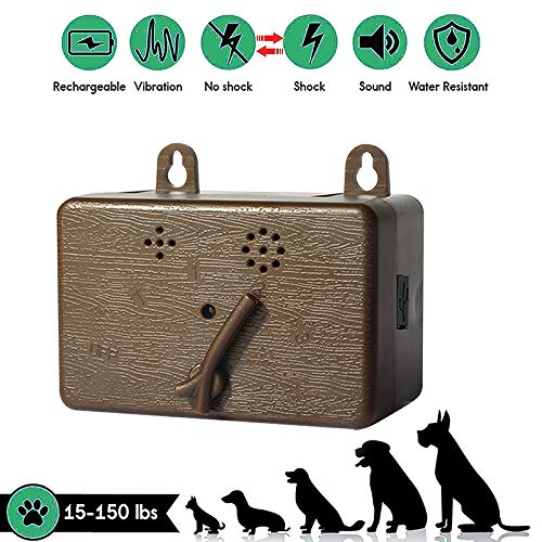Anti Barking Control Device, Ultrasonic Dog Bark Deterrent, Upgrade Rechargeable Mini Sonic Anti-bark Repellent 50 FT Range, Ultrasound Silencer No BarkTrainingControlDevice Security for Dogs (Brown)