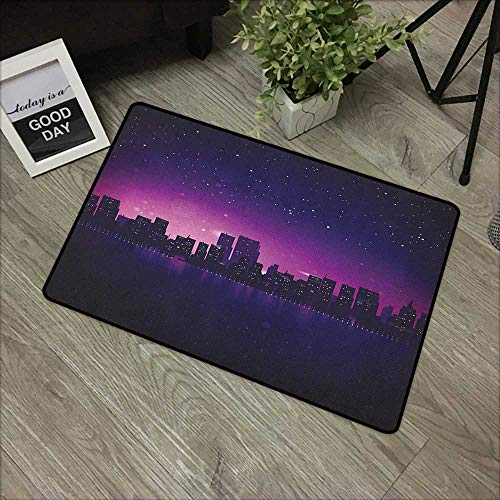 Buck Haggai Easy Clean Mats Night,City Skyline Silhouette Skyscrapers Abstract Graphic Architecture Urban Life, Indigo Pale Pink,Indoor Outdoor, Waterproof, Easy Clean, Low-Profile Mats,20