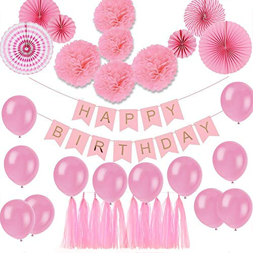 Amazon ShiDianYi Pink Birthday Decorations Happy Banner Party Centerpieces For Girls First Girl Heart Balloons