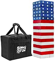 Sunny & Fun Giant Flag Tumbling Tower | 54 Piece Set Oversized Wooden Toppling Blocks | Indoor & Outdo
