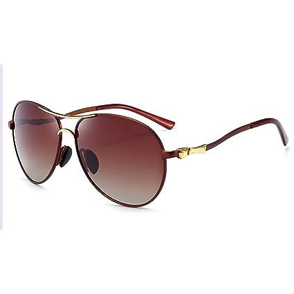 HUWAI Gafas de Sol Metal Espejo polarizador Gafas de Sol Retro Marea gradiente Gafas de Sol