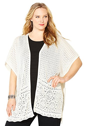 (Avenue Women's Kabuki Crochet Cardigan, 26/28 Oatmeal)
