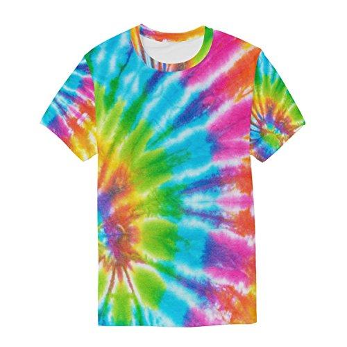 Multicolore Dye T À Cou Manches Tie Homme Ras Courtes Décontracté shirt Alaza Coloré Imprimé Du q8tHw6x