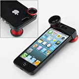 NEEWER® Red 180° Fish Eye Lens+Wide Angle Lens+Macro Lens 3-in-1 Kit for Apple iPhone 5, Best Gadgets