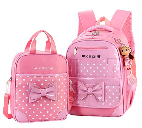 JiaYou Primary Girls Students Polyester School Backpack and Lunch Bag 2 Sets(Pink) (Kids Polyester School)