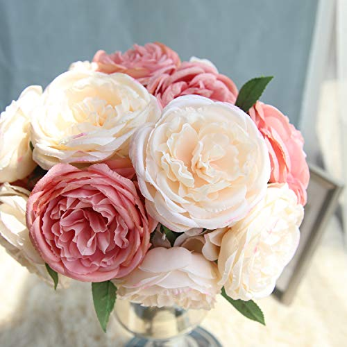 TRvancat Artificial Peonies Silk Flowers - Peony Bouquet 5 Heads Fake Flowers for Wedding Home Decoration (Pink) ()