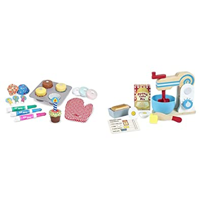 "Melissa & Doug Bake & Decorate Cupcake Set (Pretend Play, Colorful Wooden Play-Food Set, Materials, 25 Pieces, 13"" H x 10.4"" W x 3"" L) Bundle Make-A-Cake Mixer Set: Toys & Games"