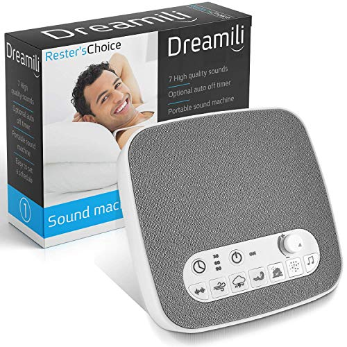 White Noise Sound Machine - Sleep Therapy Noise Maker Plays White Noise, Ocean, Storm, Rainforest, More - 7 Soothing Sounds Machine with USB Port & Sleep Timers (2019)