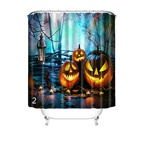 AMDXD Shower Curtains Polyester Bath Curtain Blue Halloween Style 2 Showercurtain 120X180CM -