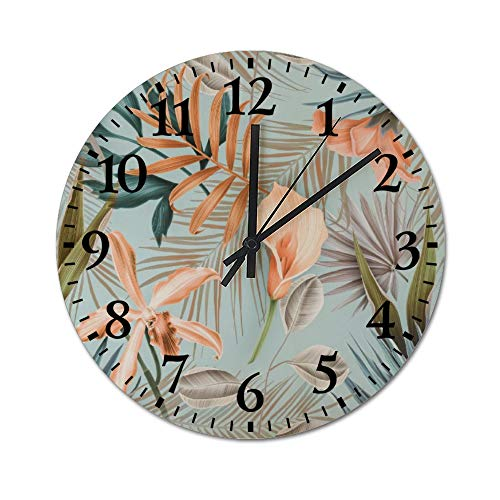 TattyaKoushi Fashion Wooden Wall Clocks Home Decor Textured Tropical Tree Silent & Non-Ticking Rustic Country for Living…