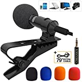 Lavalier Lapel Microphone,Omnidirectional Mic, Microphone Kit with Easy Clip On System for IPhone,Ipad, All Smartphones,PC,DSLR,Camcorder,Youtube,Interview,Video Conference,Noise Cancelling Mic