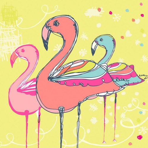 Oopsy Daisy Flamingo Fun by Rachael Taylor Posters That Stick Wall Decal, 18 by 18-Inch