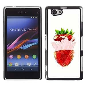 Be Good Phone Accessory // Dura Cáscara cubierta Protectora Caso Carcasa Funda de Protección para Sony Xperia Z1 Compact D5503 // Strawberry Burst Flavor Summer Red