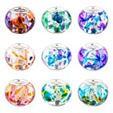 PH PandaHall 100PCS 10 Colors 15x12mm Spray Painted Glass European Beads with Silver Brass Cores Large Hole Beads, Mixed Color, Hole: 5mm