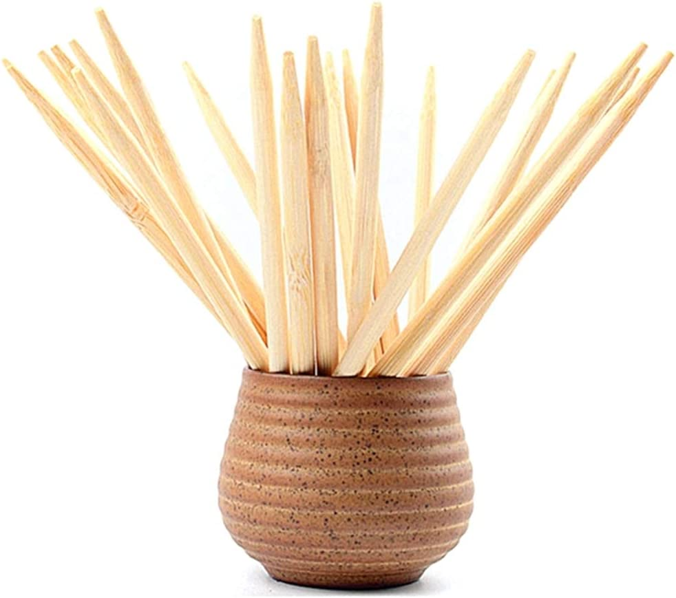 7 Inch Study Bamboo Skewers - 5mm Thick Natural Semi Point Bamboo Sticks BBQ Caramel Candy Apple Sticks for Corn Dog,Corn Cob,Cookie,Lollipop,Kabob,Gril.(100 pcs)