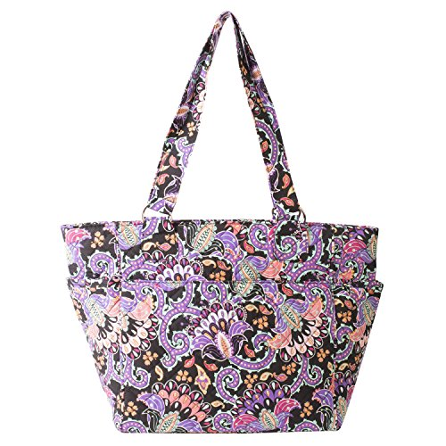 Waverly Large Tote (Quilted Black Multi Paisley) (Quilted Bag Shoulder Cotton Handbag)