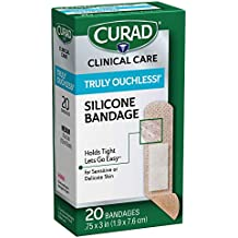 Curad Truly Ouchless Silicone Adhesive Bandages, Fabric Bandages are .75 x 3 inches, for Delicate or Sensitive Skin, 20 Count