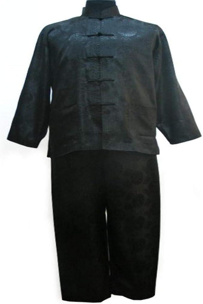 Conjunto de Pijama de satén Chino Azul Marino Vintage para Hombre Conjunto de Pijama Talla Grande XXXL Traje de Manga Larga Camisa y Pantalones Pantalones Ropa de Dormir Ropa de Dormir: Amazon.es: