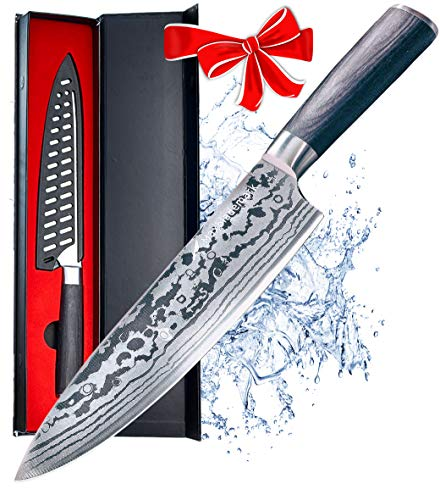Maxblademark 8 Inch Chef Knife, Pro Kitchen Chef's Knife, German High Carbon Stainless Steel with Ergonomic Handle, Ultra Sharp with Damascus Pattern, Knife Guard and Stylish Package ()