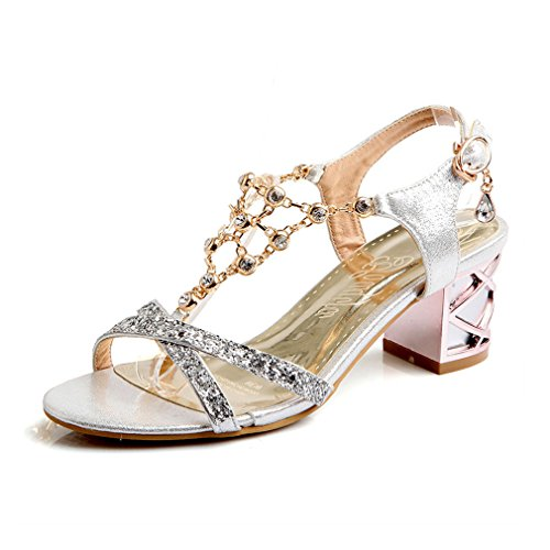 Lumino Cristal Ouverte Talons Strap Moyens Chaussures Mode Été Silver Strass Femmes Épais Sandales Mesdames T rqrU1xw