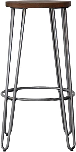 ACEssentials 29 Wood Top Round Seat Bar Height Stool with Metal U-Shape Legs – 28.9 H x 16.9 D x 16.9 W, Wood and Natural Metal Finish