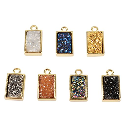 ZENGORI 1 Pcs Gold Plated Bezel Rectangle Rainbow Titanium Druzy Connector Bead Charm Pendant 24k Gold (24k Gold Pendant Charm)