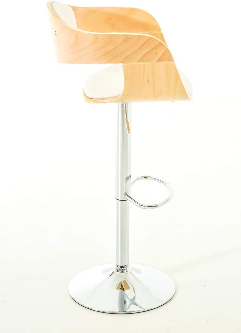 Couleur CLP Tabouret de Bar Kingston Similicuir R/églable en Hauteur Chaise Haute Design avec Dossier Accoudoirs Repose-Pied Gris//Blanc