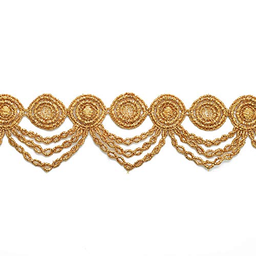 2-Yards 2 Inch Metallic Lace Trim for Bridal, Costume or Jewelry, Crafts and Sewing, LP-MX-2304 (Gold)