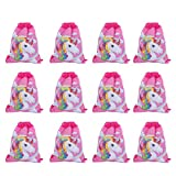 Yarmoire 12 Pack Cartoon Unicorn Print Drawstring Bag Party Favors for Kids Party Supplies Backpack Gym Bag (12 pack style 1)